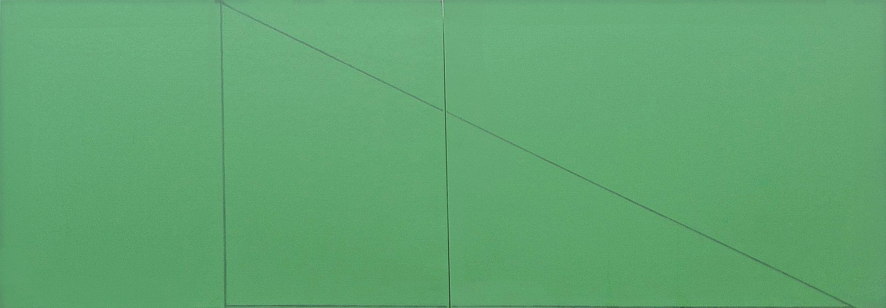 A Triangle Within Two Rectangles Green by Robert Mangold